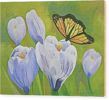 Crocus And Monarch Butterfly Wood Print