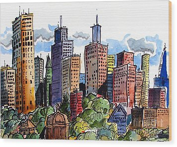 Crooked City Wood Print by Terry Banderas