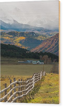 Crooked Fence Wood Print