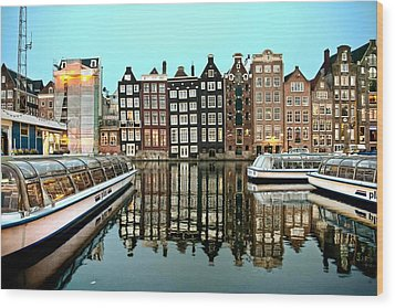 Wood Print featuring the photograph Crooked Houses On The Canal by Brent Durken