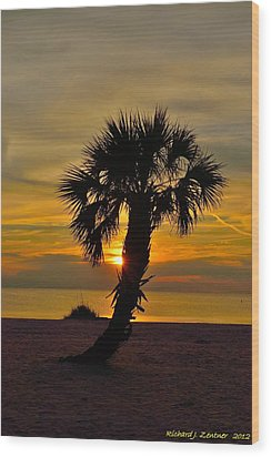 Wood Print featuring the photograph Crooked Palm Sunset by Richard Zentner