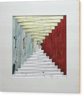 Crooked Staircase Wood Print by Ron Davidson