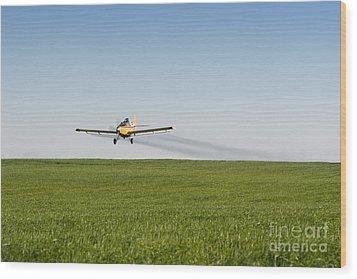 Crop Duster Airplane Flying Over Farmland Wood Print