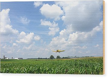 Wood Print featuring the photograph Yellow Crop Duster by Charles Kraus
