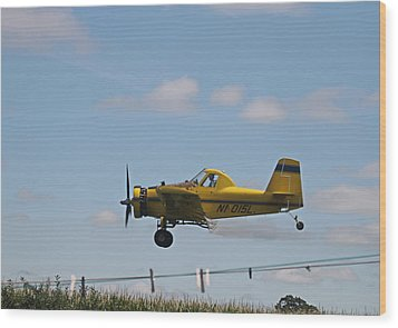 Crop Dusting Wood Print by Victoria Sheldon
