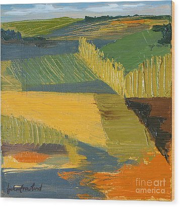 Wood Print featuring the painting Crop Fields by Erin Fickert-Rowland