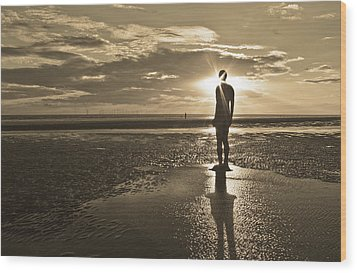 Crosby Beach Sepia Sunset Wood Print by Paul Madden