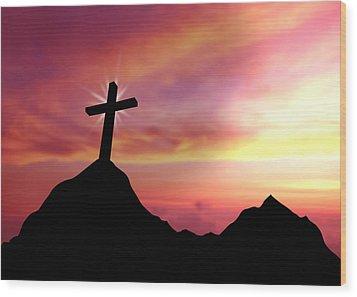 Cross Wood Print by Aged Pixel