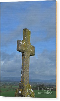 Cross At Cashel Wood Print by DejaVu Designs
