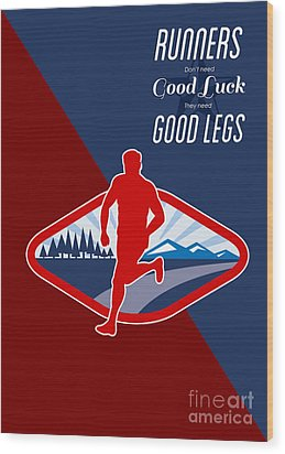 Cross Country Runner Retro Poster Wood Print by Aloysius Patrimonio