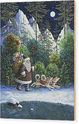 Cross-country Santa Wood Print by Lynn Bywaters