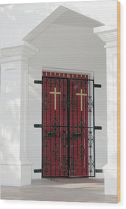 Key West Church Doors Wood Print