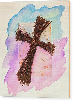 Cross Of Sticks Wood Print by Pattie Calfy