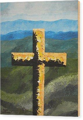 Cross Of The Mountain Ridges Wood Print by Ralph Loffredo