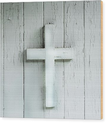 Cross On Holy Angels Sugar Island Michigan Wood Print by Evie Carrier