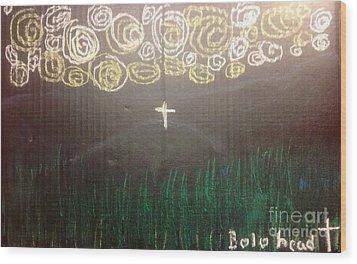 Cross On The Mountain Wood Print by Willard Hashimoto