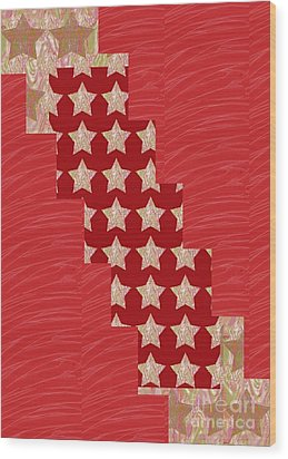Cross Through Sparkle Stars On Red Silken Base Wood Print