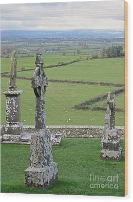 Crosses Of Cashel Wood Print by Suzanne Oesterling