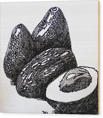 Crosshatched Avocados Wood Print by Debi Starr