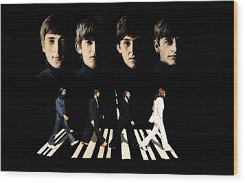 Crossing Into History The Beatles  Wood Print by Iconic Images Art Gallery David Pucciarelli