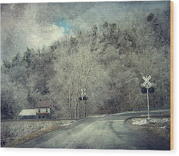 Crossing Into Winter Wood Print by Kathy Jennings