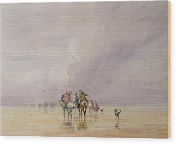 Crossing Lancaster Sands Wood Print by David Cox