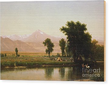 Crossing The River Platte Wood Print by Pg Reproductions
