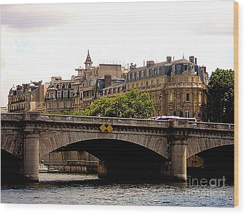 Crossing The Seine Wood Print by Lauren Leigh Hunter Fine Art Photography