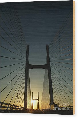 Wood Print featuring the photograph Crossing The Severn Bridge At Sunset - Cardiff - Wales by Vicki Spindler