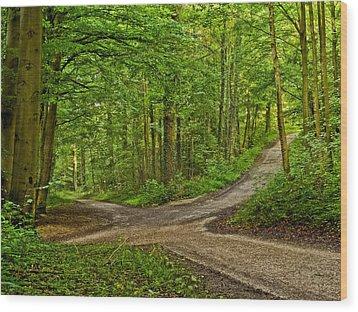 Crossroads After A Night Of Rain Wood Print by Martin Liebermann