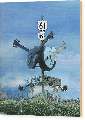 Wood Print featuring the photograph Crossroads In Clarksdale by Lizi Beard-Ward