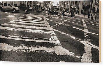 Crosswalk In New York City Wood Print by Dan Sproul