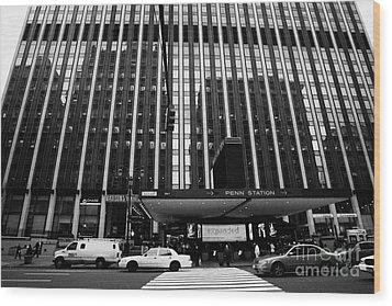 Crosswalk Leading To Penn Station And Madison Square Garden Seventh Avenue New York City Wood Print by Joe Fox