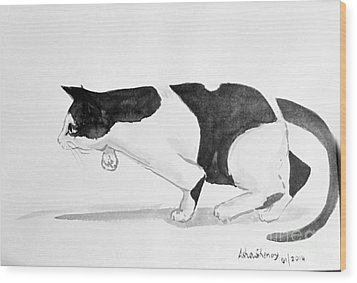 Crouching Cat Wood Print