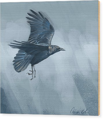 Wood Print featuring the digital art Crow by Aaron Blaise