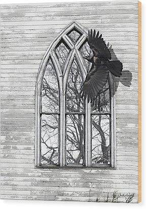 Crow Church Wood Print by Judy Wood