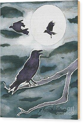 Crow Moon Wood Print