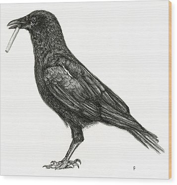 Wood Print featuring the drawing Crow by Penny Collins