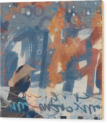 Crow Snow Wood Print by Carol Leigh