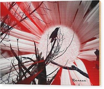 Crow Sunset Wood Print by Sadie Reneau