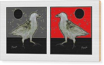 Crow5 Wood Print by Herb Russel