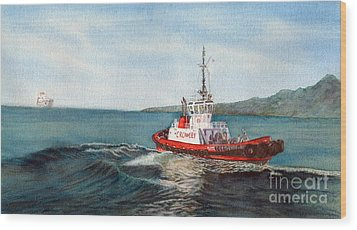 Crowley Tug Wood Print by Sandy Linden