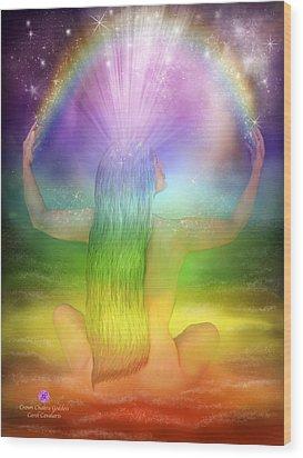 Crown Chakra Goddess Wood Print by Carol Cavalaris
