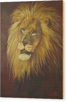 Crown Of Courage,lion Wood Print