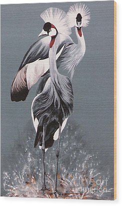 Wood Print featuring the painting Crowned Cranes by DiDi Higginbotham