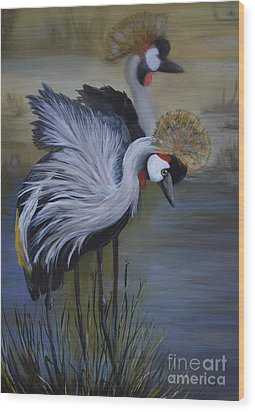 Crowned Cranes Wood Print by Nancy Bradley