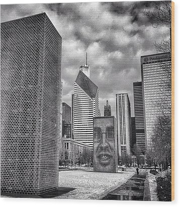 Chicago Crown Fountain Black And White Photo Wood Print