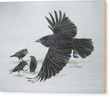 Crows Wood Print by Carol Veiga