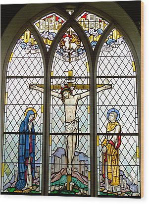 Crucified Wood Print by Ann Horn