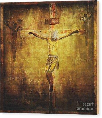Crucified Via Dolorosa 12 Wood Print by Lianne Schneider
